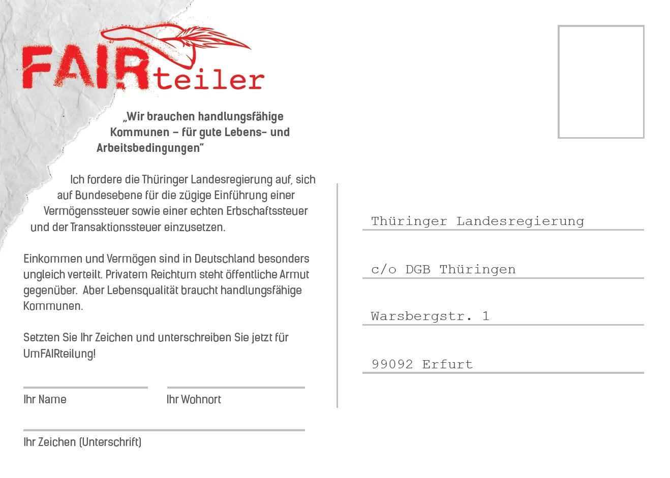 Postkarte Fairteilertour