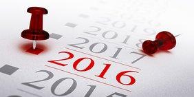 Jahreszahl 2016 in einer Kalenderübersicht