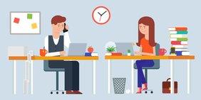 Grafische Darstellung: Mann und Frau am Schreibtisch im Homeoffice