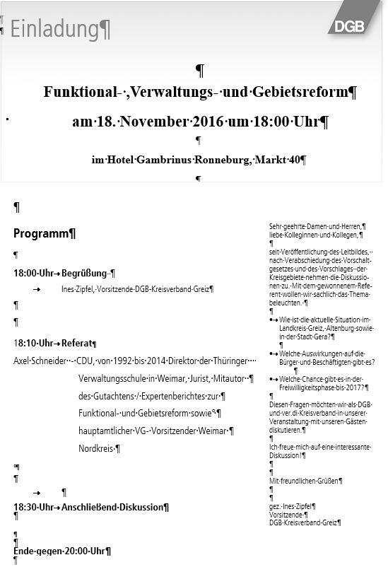 Veranstaltung 18.11.16