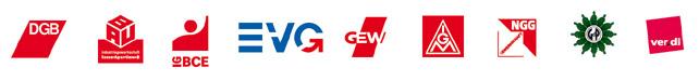 Logos von DGB und den acht Mitgliedsgewerkschaften